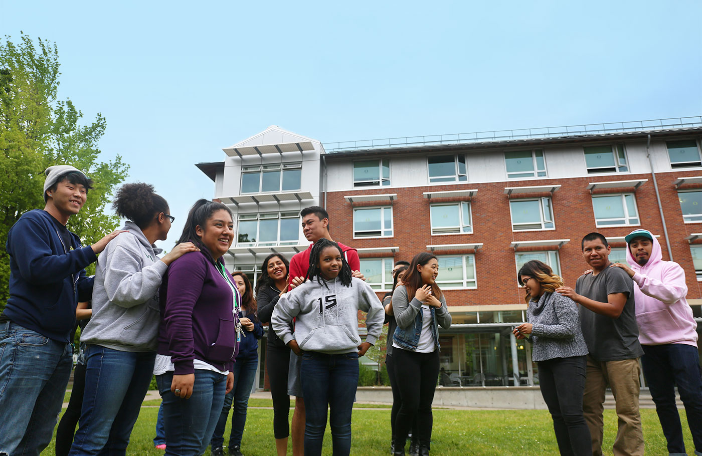 IMPACT students playing a game on the Living-Learning Center lawn.