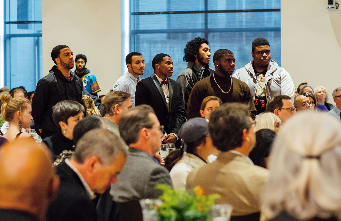 UO students and faculty members honor diversity at the Reverend Dr. Martin Luther King Jr. awards luncheon.