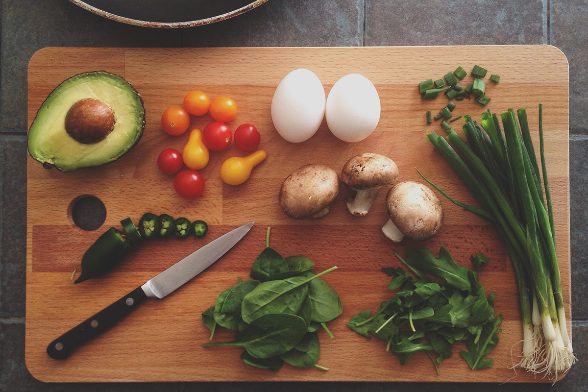 Cutting board with healthy foods