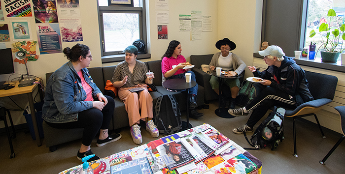 Students gather in the LGBTQA3 Alliance Student Office